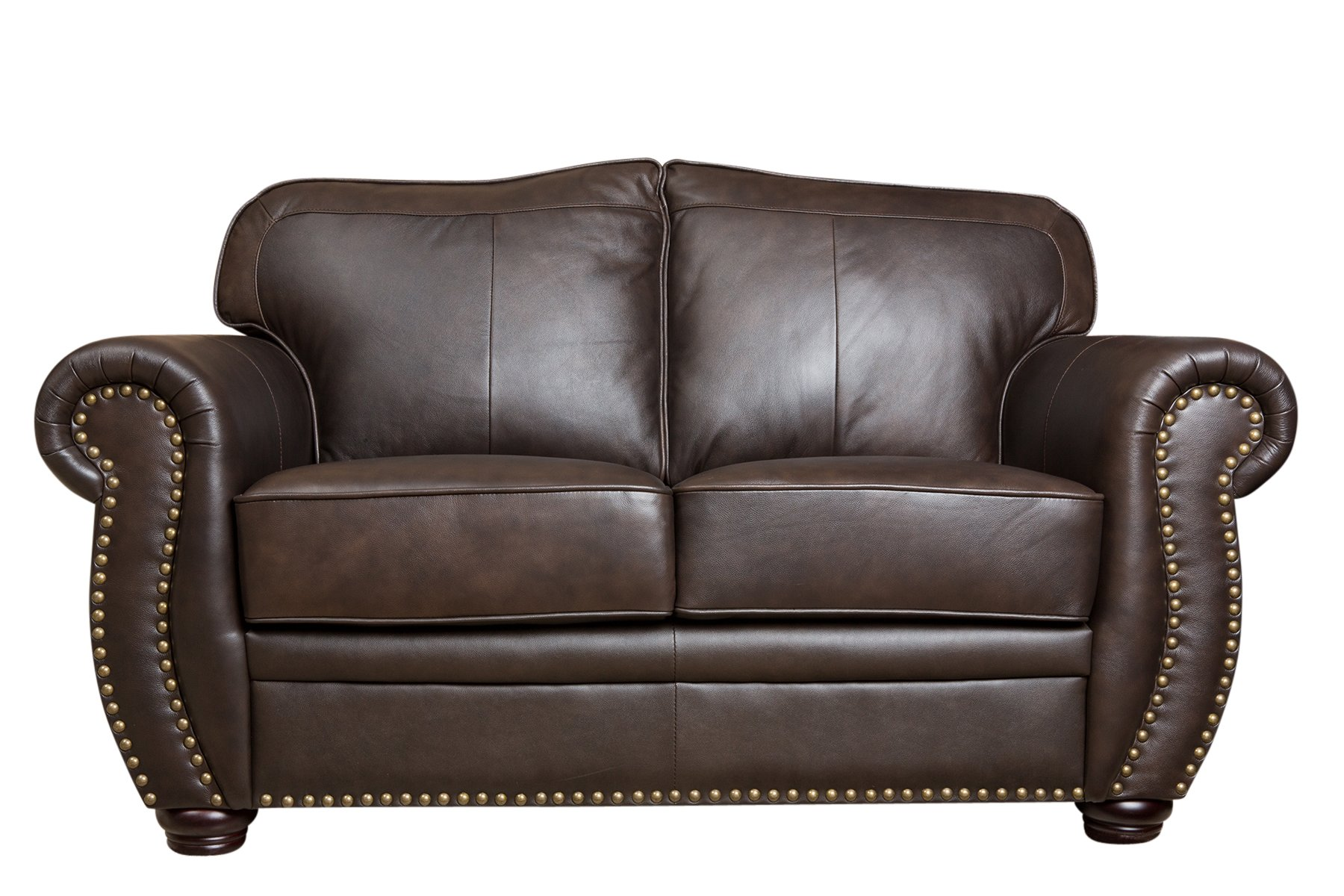 Abbyson® Palaza Leather Loveseat, Brown