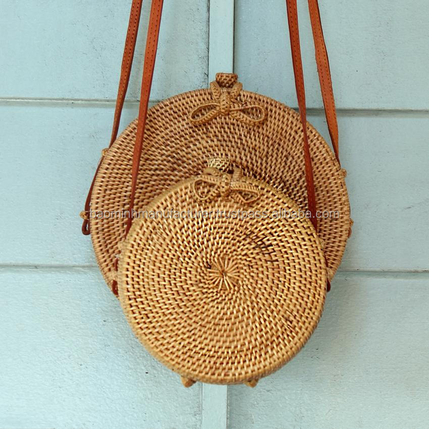 Bali Harvest Round Woven Ata Rattan Bag With Bow Clasp Buy Rattan
