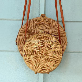 Bali Harvest Round Woven Ata Rattan Bag With Bow Clasp View Rattan