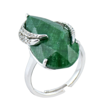 Dyed Beryl Emerald & Cubic Zirconia Women's Engagement Ring Sterling 925 Silver- TJLR002