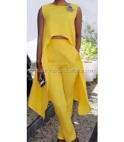 Yellow Designer Dress casual top with beautiful pant plain color wholesale vintage ethnic Top Dress Tops