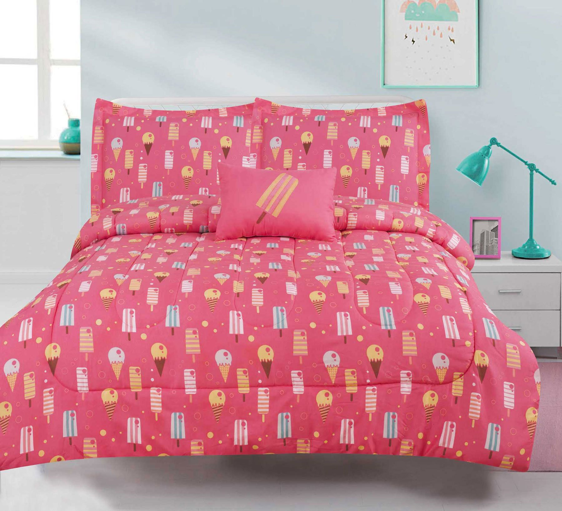 Get Quotations Queen S Bedding Ice Cream Cone Comforter 4 Piece Bed Set Pink Popsicle