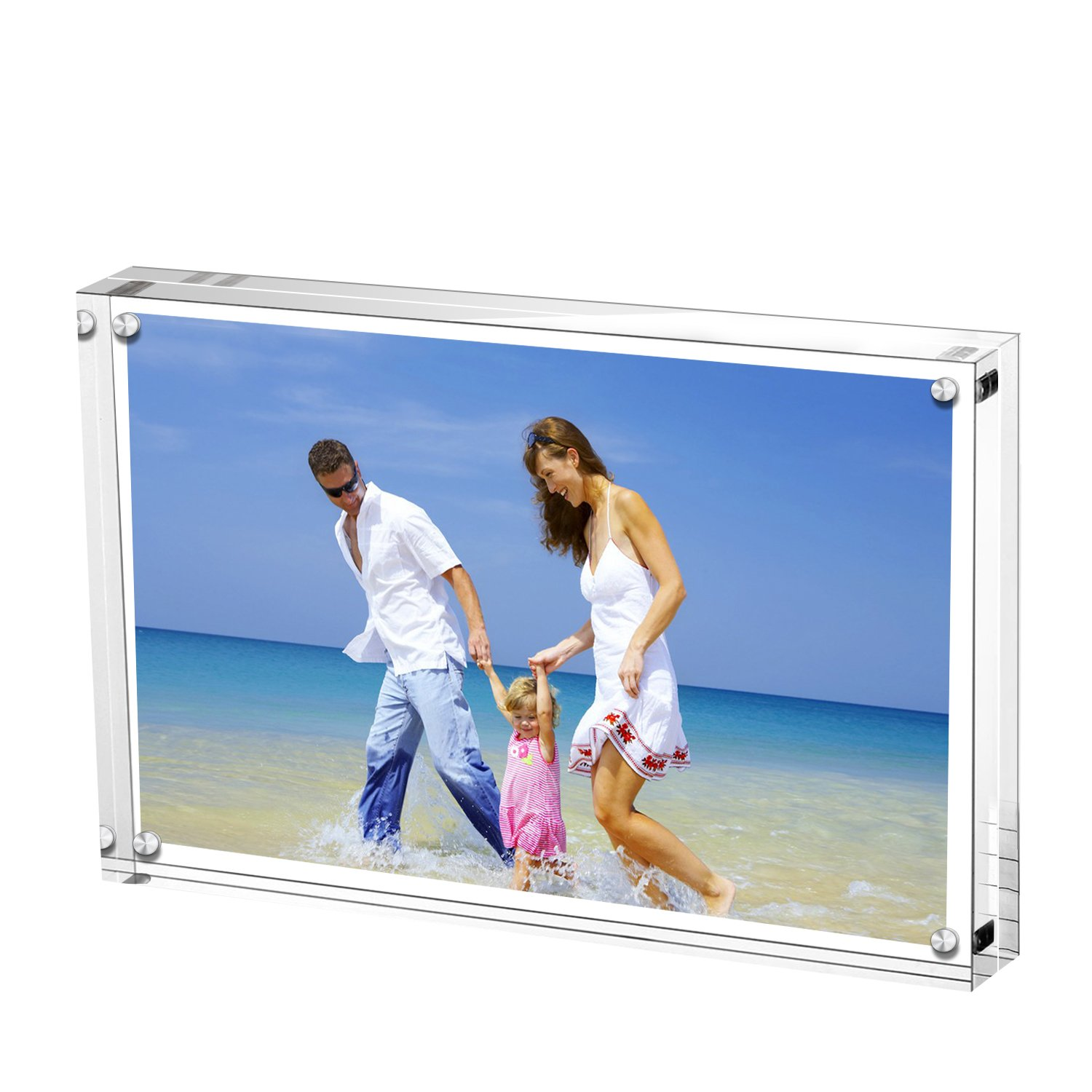 AMEITECH Acrylic Photo Frames 6x8'',Magnetic Acrylic Block Picture Frame,Desktop Frameless Photograph Display
