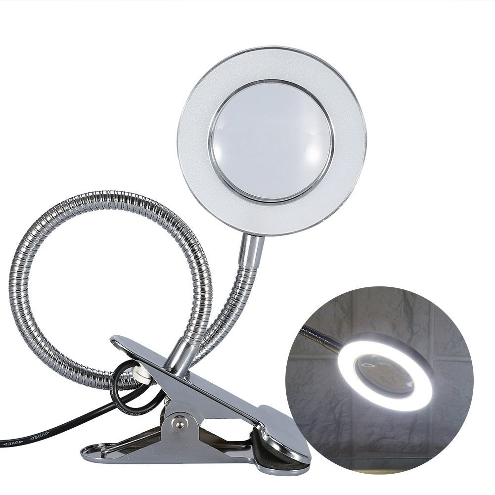 Magnifying Lamp, Desk Magnifier LED USB Tattoo Beauty Magnifier Lamp, 2.5X Cold Light Magnifying Lamp Metal Tube Clip Swing Arm Desk Lamp Tattoo Lamp for Eyebrow Tattoo Manicure Eyelash Extension Read