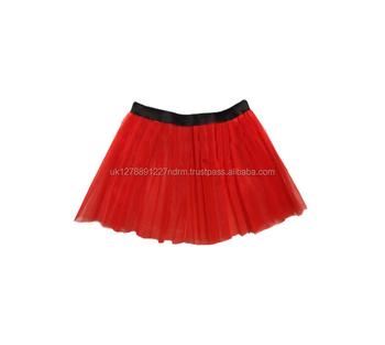 f6716820c3 Red Long 14 quot  Neon 3 Layers of Net UV Flo Tutu Skirt Hen Fancy Dress