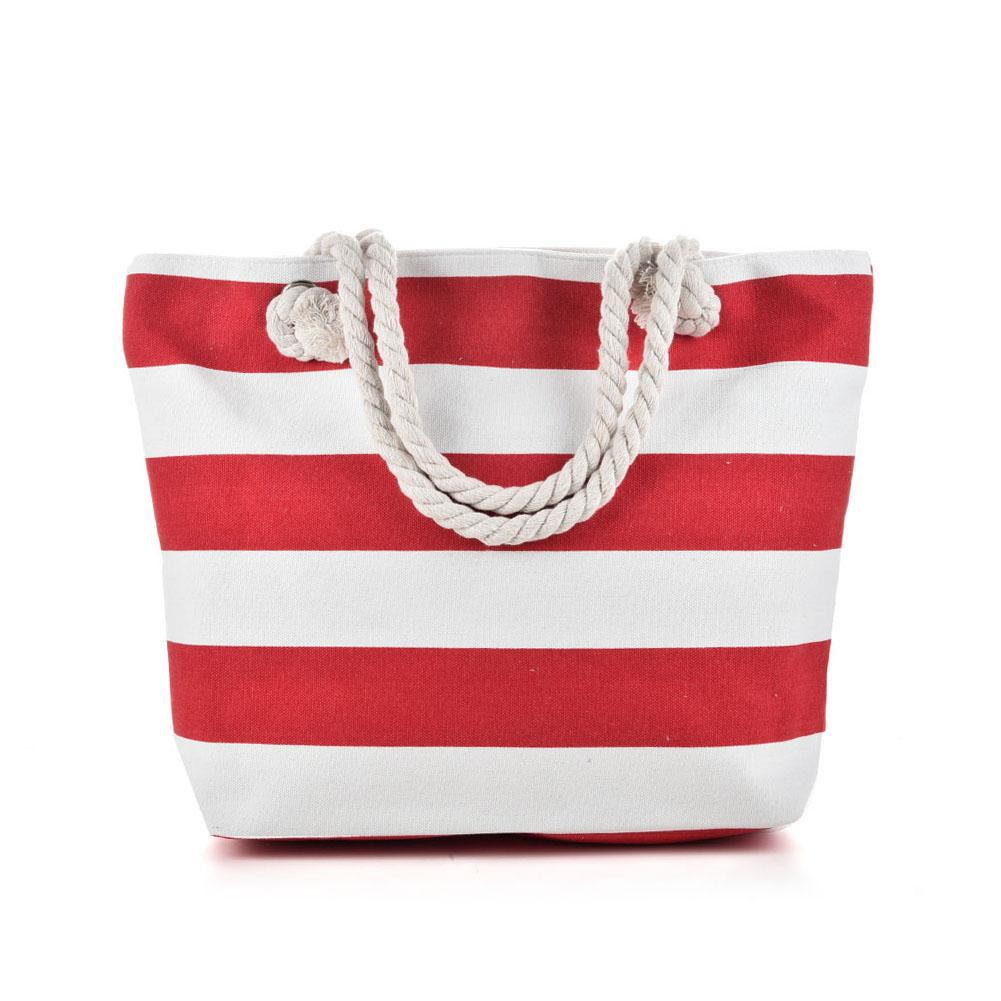 Red White Cotton Tote Bags With Custom
