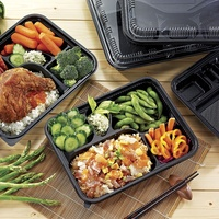 Black Disposable Bento Box Food Containers With Compartments