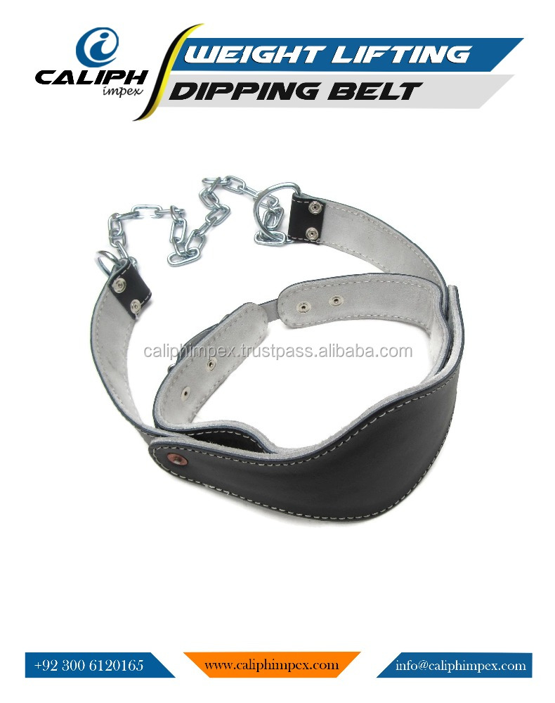 Super Leather Dipping Belt Gym Training Body Building Weight Lifting chain belt