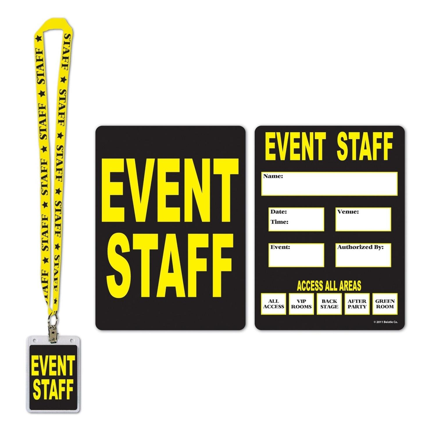 """Pack of 12 Black and Yellow Event Staff Party Pass Lanyard and Card Holder 25"""""""