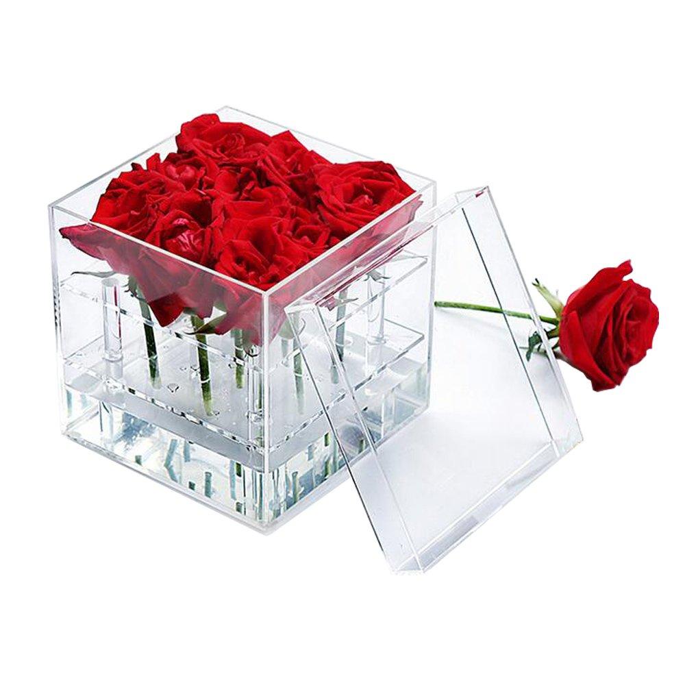 Wefond Clear Acrylic Flower Box Water Holder Vase Decorative Square Rose Pot Wedding Flower Gift Box Makeup Organizer, 9 Holes