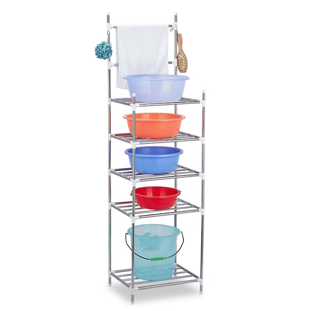5-Shelf Shelving Unit AIYoo Standing Shelf Units Heavy Duty Stainless Steel Organization and Storage Rack Shelf for Bathroom,kitchen,Living room,balcony