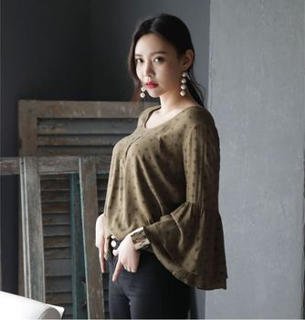 3cc8794f990 New Fashion Summer Casual Ladies Tops Korean Style women Cute Bell sleeve  Blouse