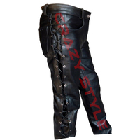 Men's High Quality Full Side Laces Cowhide Genuine Leather Jean Style Pant