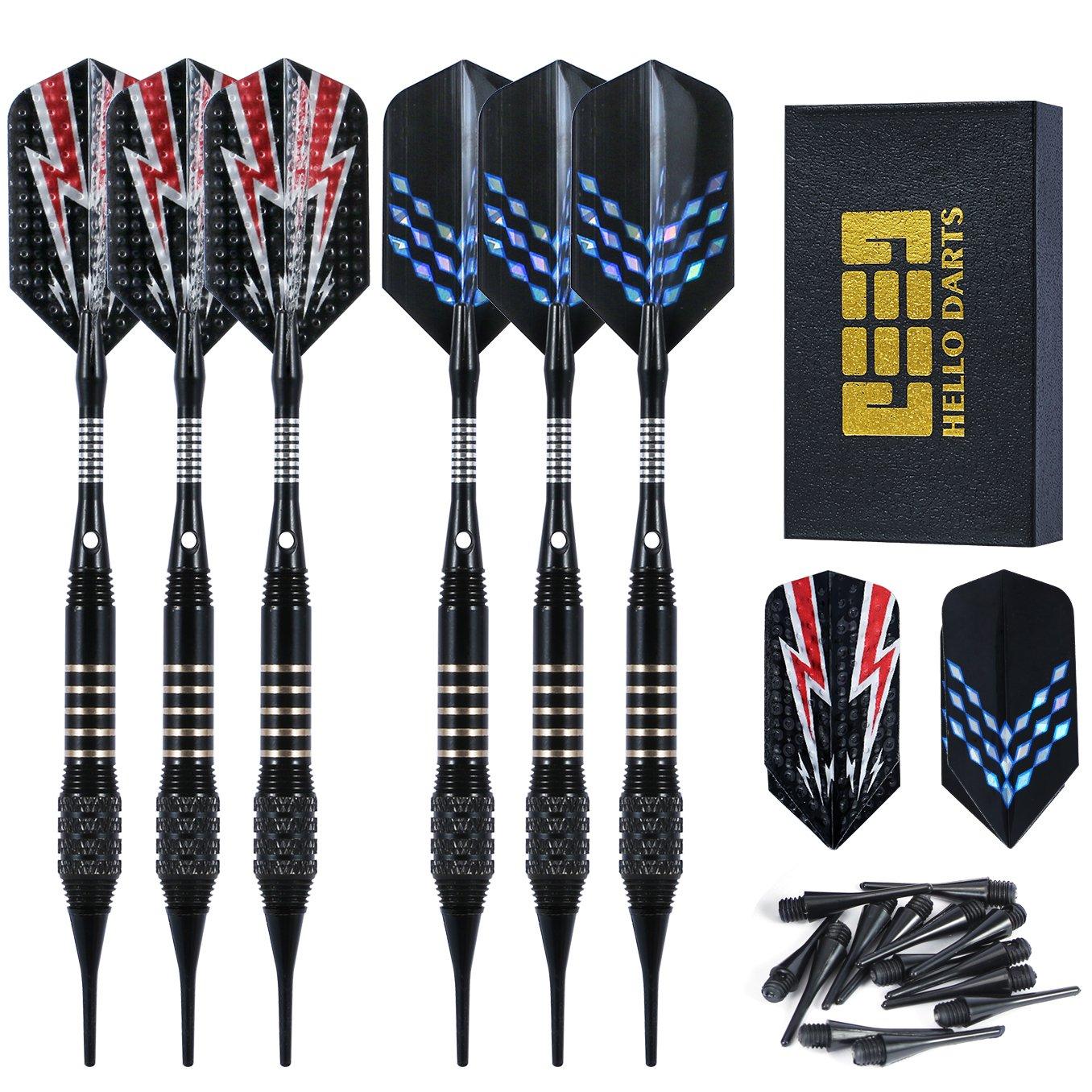 Vopa 6 Pack Professional 18 Grams Soft Tip Dart Set with 18 Plastic Soft Tip Points Aluminum Shafts and Slim Dart Flight for Electronic Dartboard