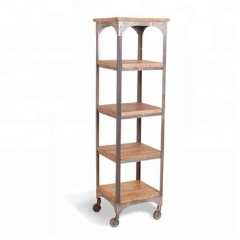 Industrie Vintage Eisen Metall Solide Mango Holz Hohen Buch Regal Mit Rädern Buy Tragbare Buch Regalmetall Lagerung Regal Mit Rädernweiß Holz
