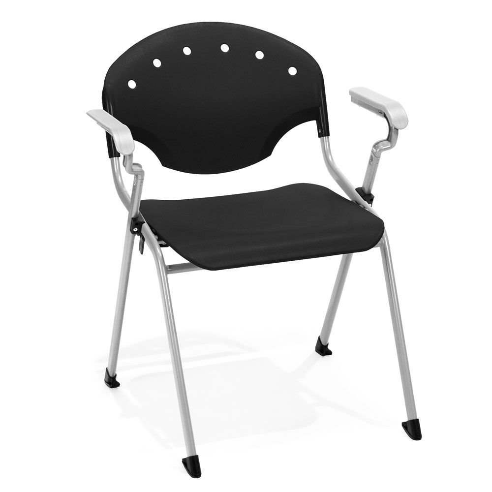 """Set of 4 Rico Plastic Modern Stack Chair Dimensions: 25.25""""W x 24.5""""D x 31.75""""H Seat Dimensions: 18.25""""Wx16.5""""Dx17.5""""H Weight: 14 lbs. Black Polypropylene/Gray Frame"""