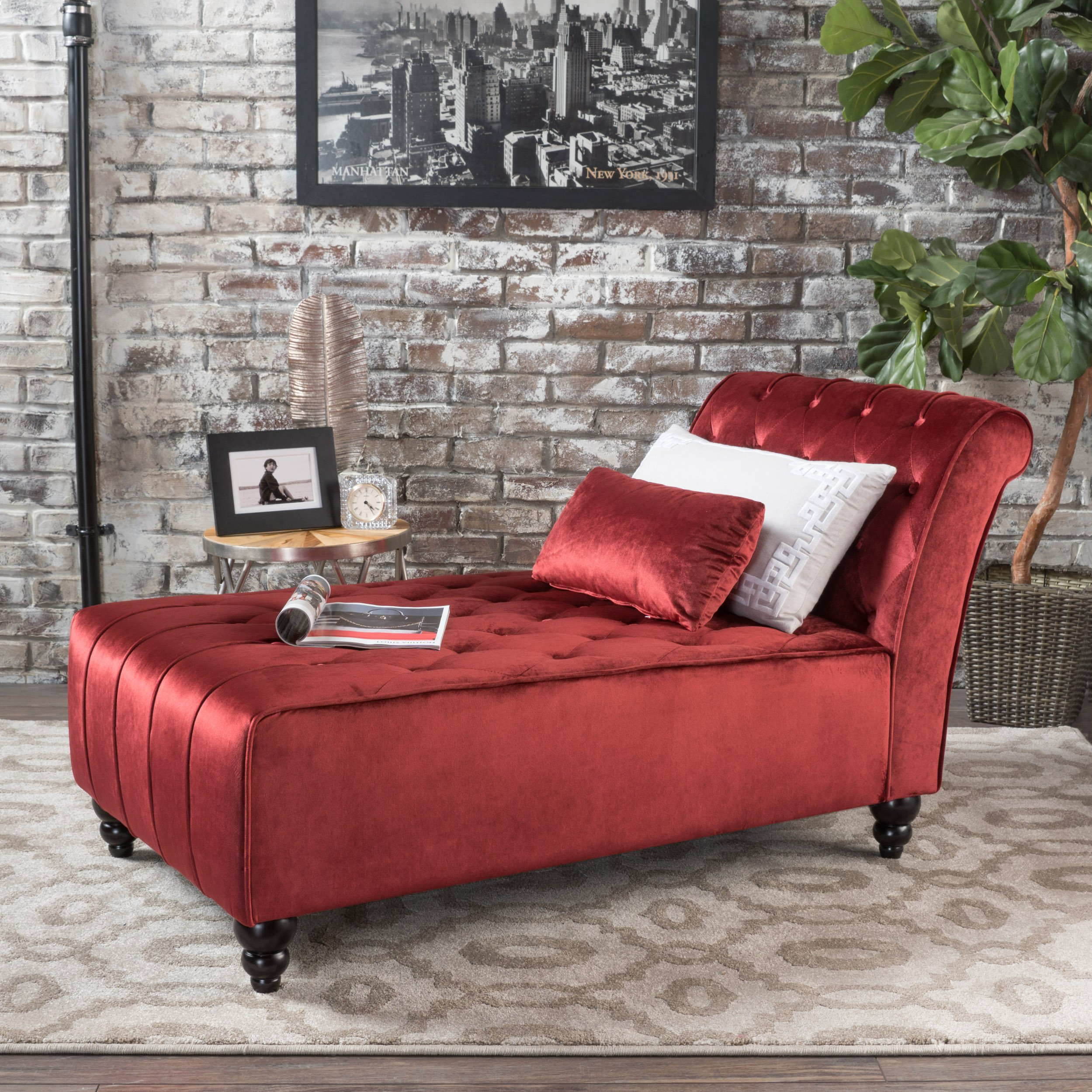 Rafaela   Living Room Chaise Lounge   Button Tufted   Corded   New Velvet in Grey