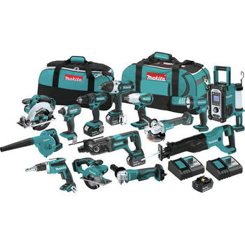 100% original M-Makita LXT1500 18-Volt LXT Lithium-Ion Cordless 15-Piece Combo Kit / power tool / cordless drill