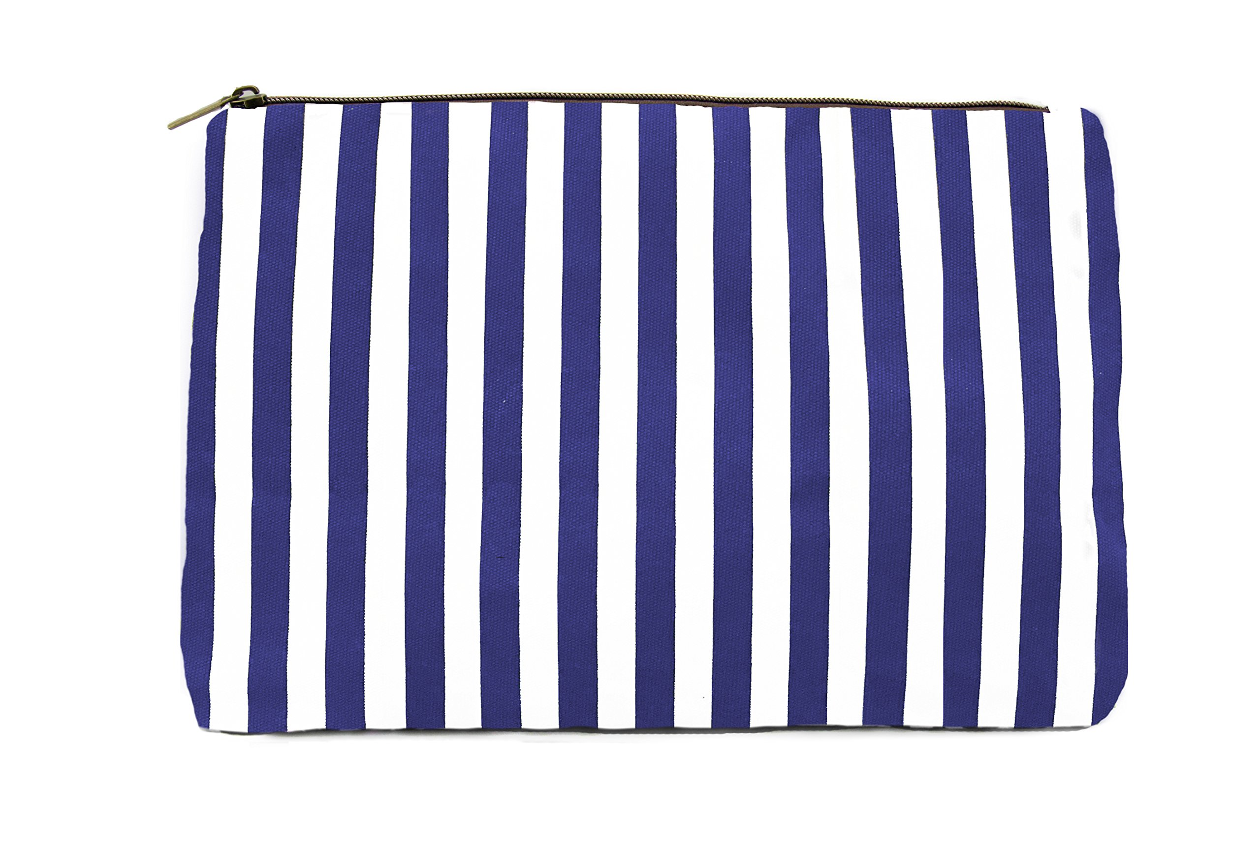 Blue Makeup Bag, Lulu Dharma Womens Striped Cosmetic Bag, Makeup Bag, Toiletry Bag, Organizer Bag, Small Travel Bag, Cosmetic Case, Makeup Pouch, Wallet, Jewelry Travel Bag (Blue) - MSRP $38
