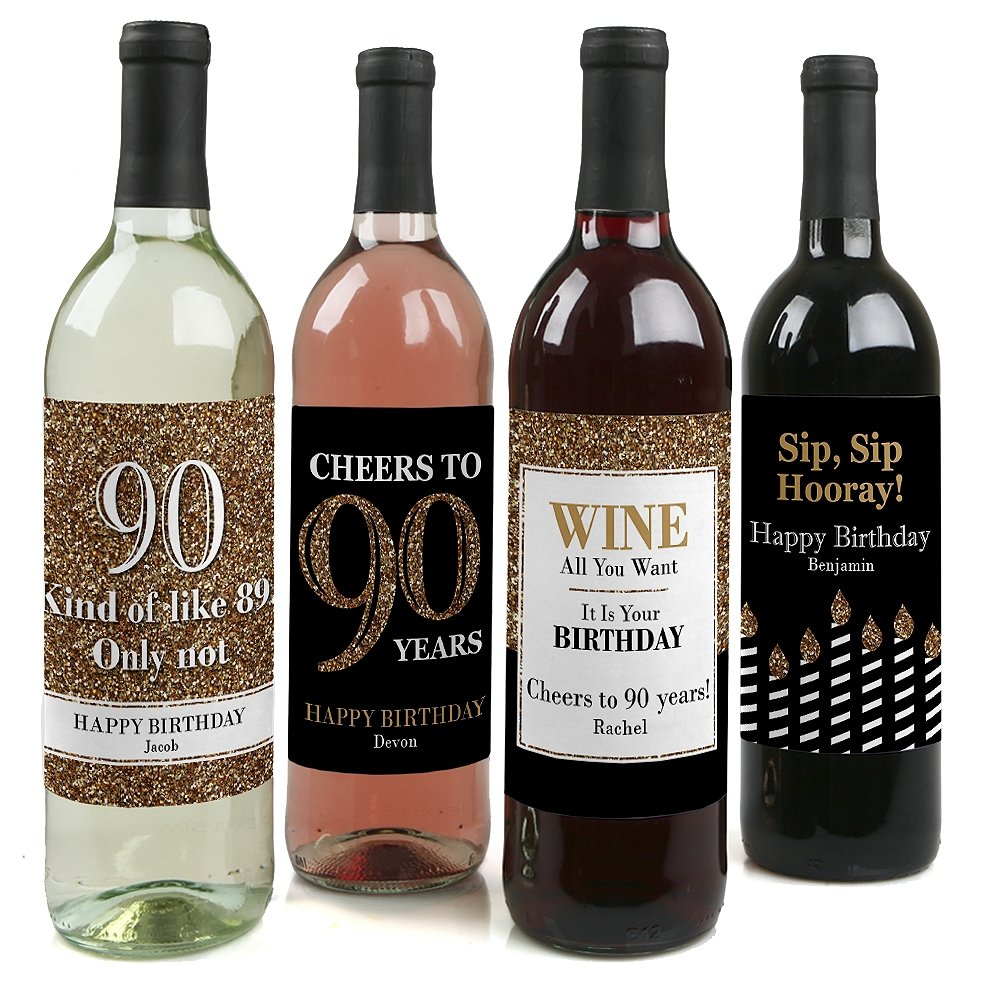 Custom Adult 90th Birthday - Gold - Personalized Birthday Party Wine Bottle Labels - Birthday Gift Idea - Set of 4