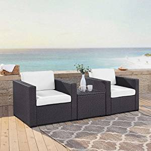 Crosley Furniture KO70104BR-WH Biscayne 3-Piece Outdoor Wicker Conversation Set, Brown with White Cushions
