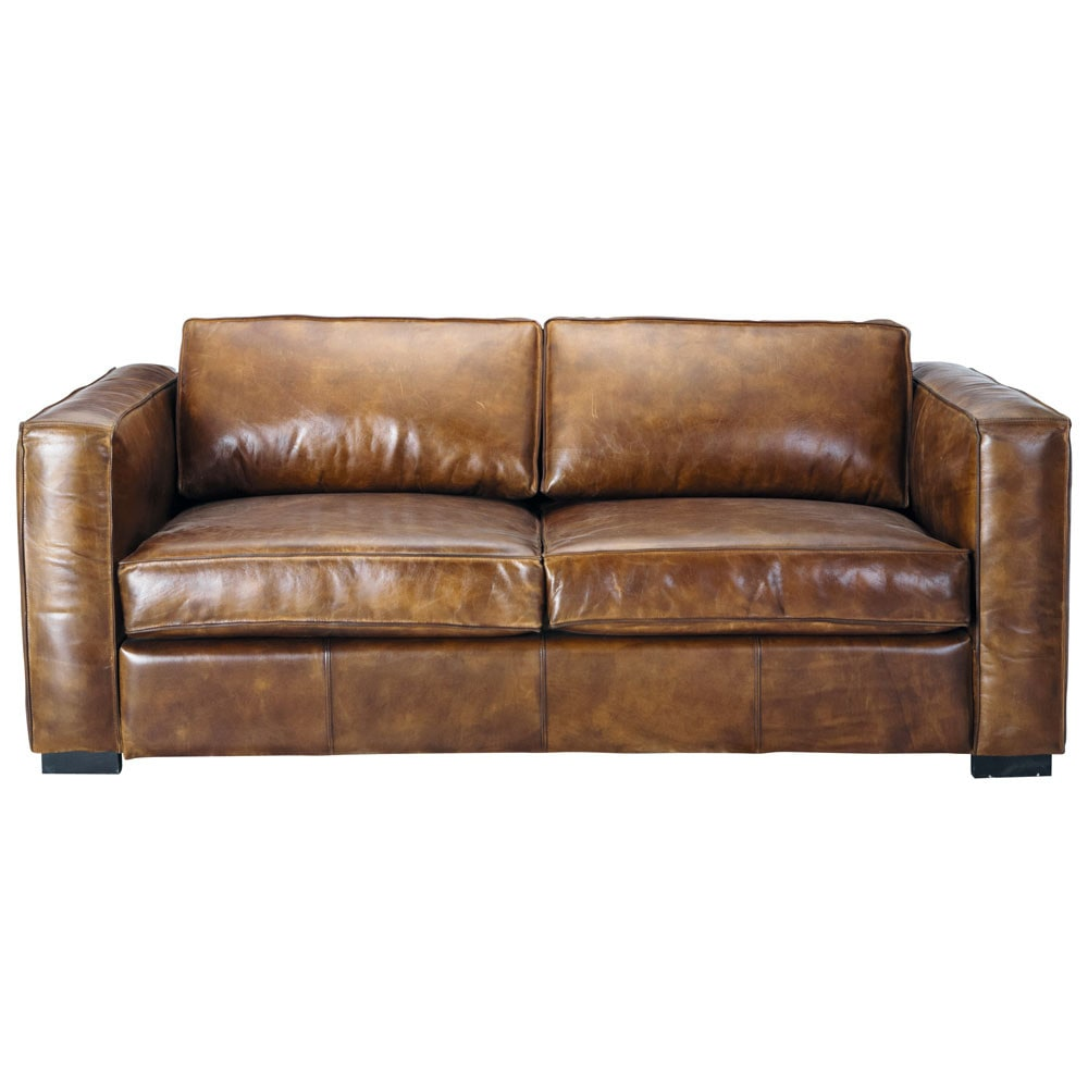 3 Seater Distressed Leather Sofa Bed In