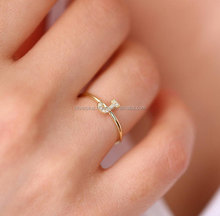 14k yellow Gold Alphabet Letter 'J' Initial Diamond Rings Wholesale jewelry