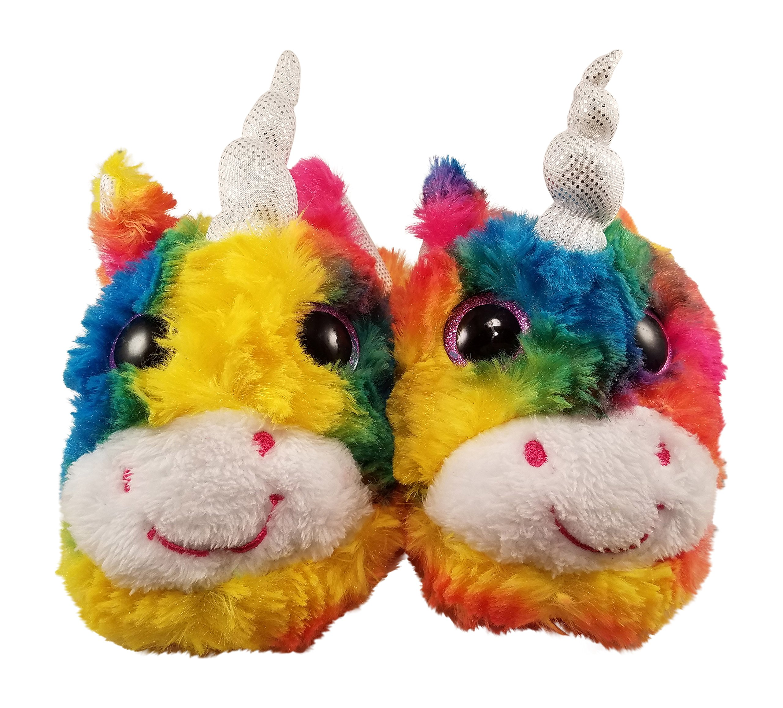 3a747771f32c Get Quotations · Unicorn Slippers for Girls with Rainbow Colors and Big Eyes
