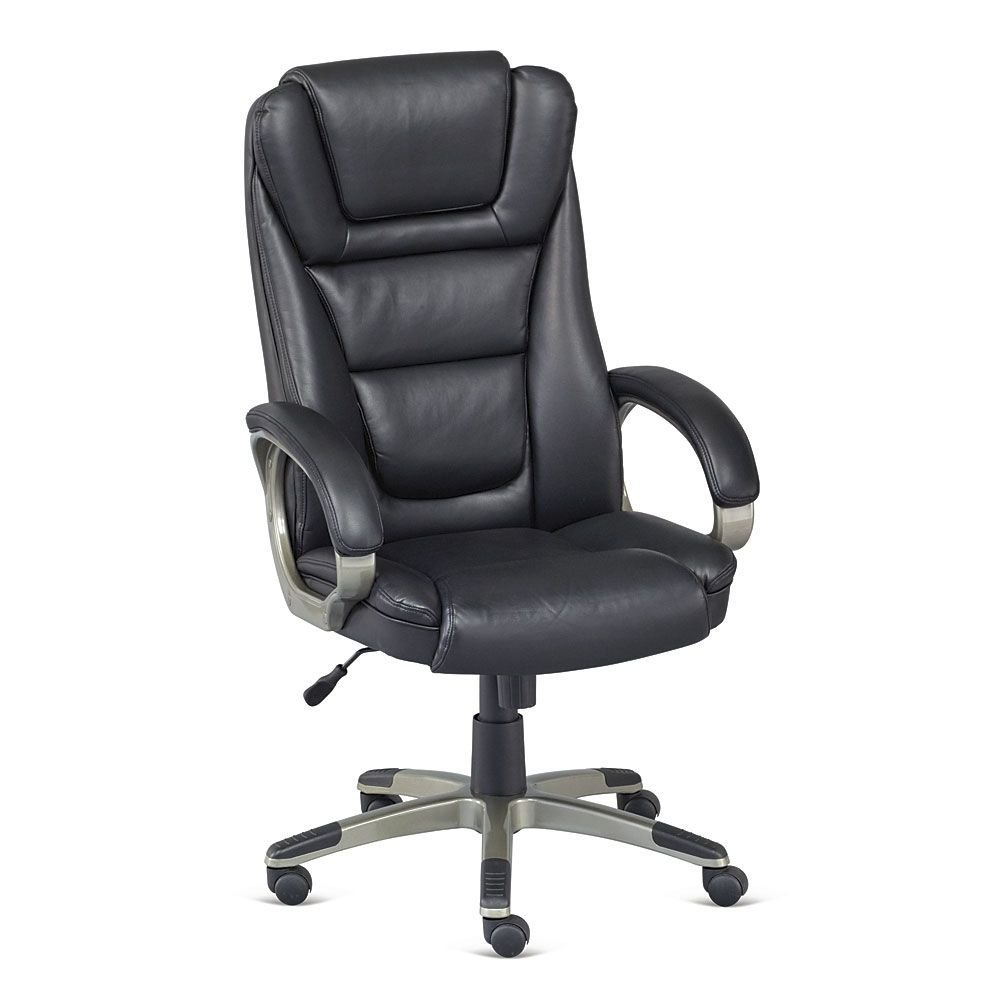 "High Back Faux Leather Executive Chair Dimensions: 26.5""W x 28.5""D x 44.75-47.75""H Seat Dimensions: 21""Wx19.5""Dx17.5-21.5""H Weight: 44 lbs. Black Faux Leather/Slate Frame"