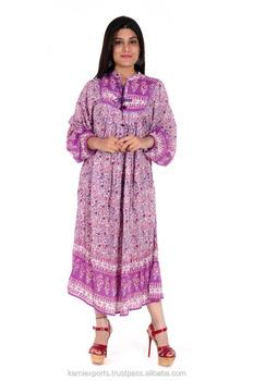 4c1bdd472061 jaipuri made maxi Womans and kids dress purple flower LATEST FASHION DESIGN  PRINT LONG MAXI DRESSES