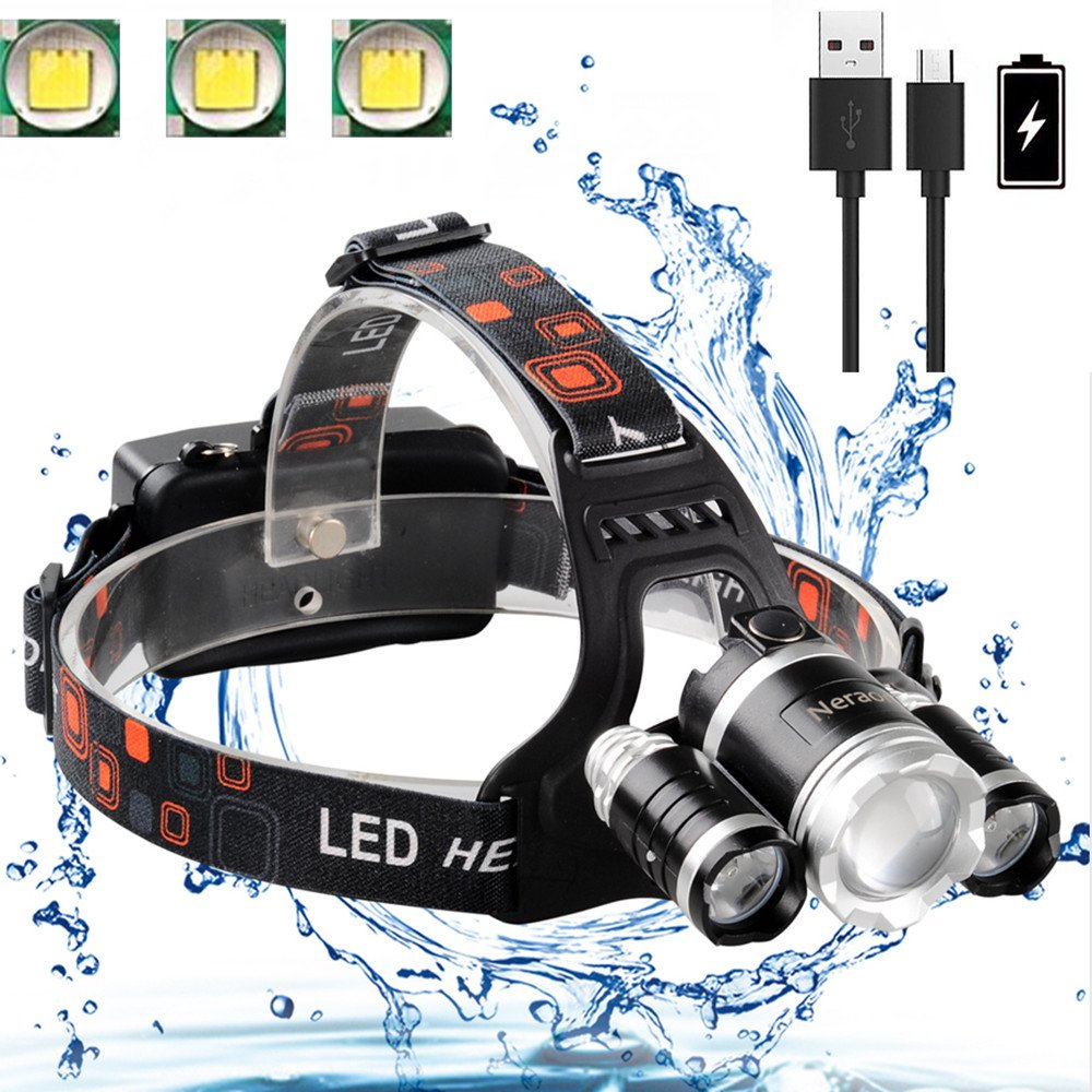 Neraon Brightest LED Headlamp 6000 Lumens, Zoomable 4 Modes LED Headlight USB Rechargeable, Waterproof LED Headlamp 18650 Batteries USB Cable(Input Output), Running Hiking Camping Headlam