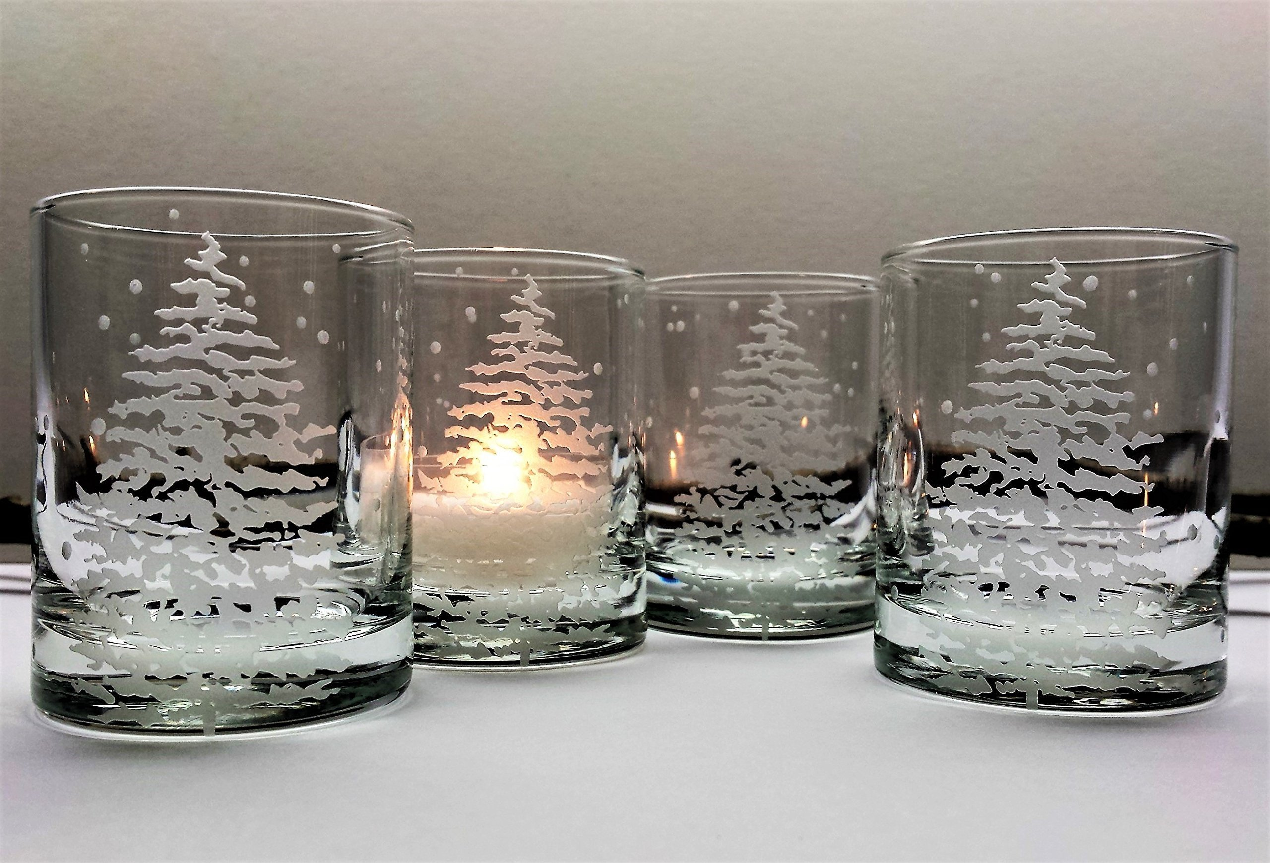 Get Quotations Fir Tree And Floating Flakes Votive Holder Set Of Four Engraved Gl Candle Holders Winter Decor