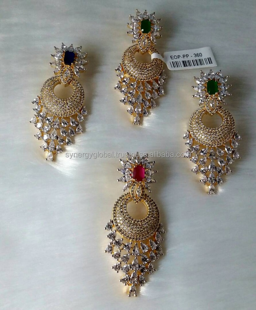 Poppular Bollywood Actress Style indian fancy earring - Indian Designer american diamond