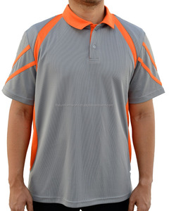 Sporty Design Drifit Mesh Polo T Shirt Medium Grey with Orange Contrast Work Wear Uniforms