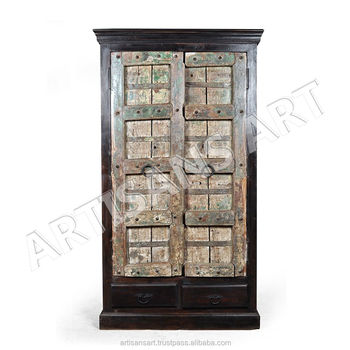 Vintage Old Indian Door Antique Wooden Almirah With Drawer, Indian Antique  Furniture Suppliers And Manufacturers