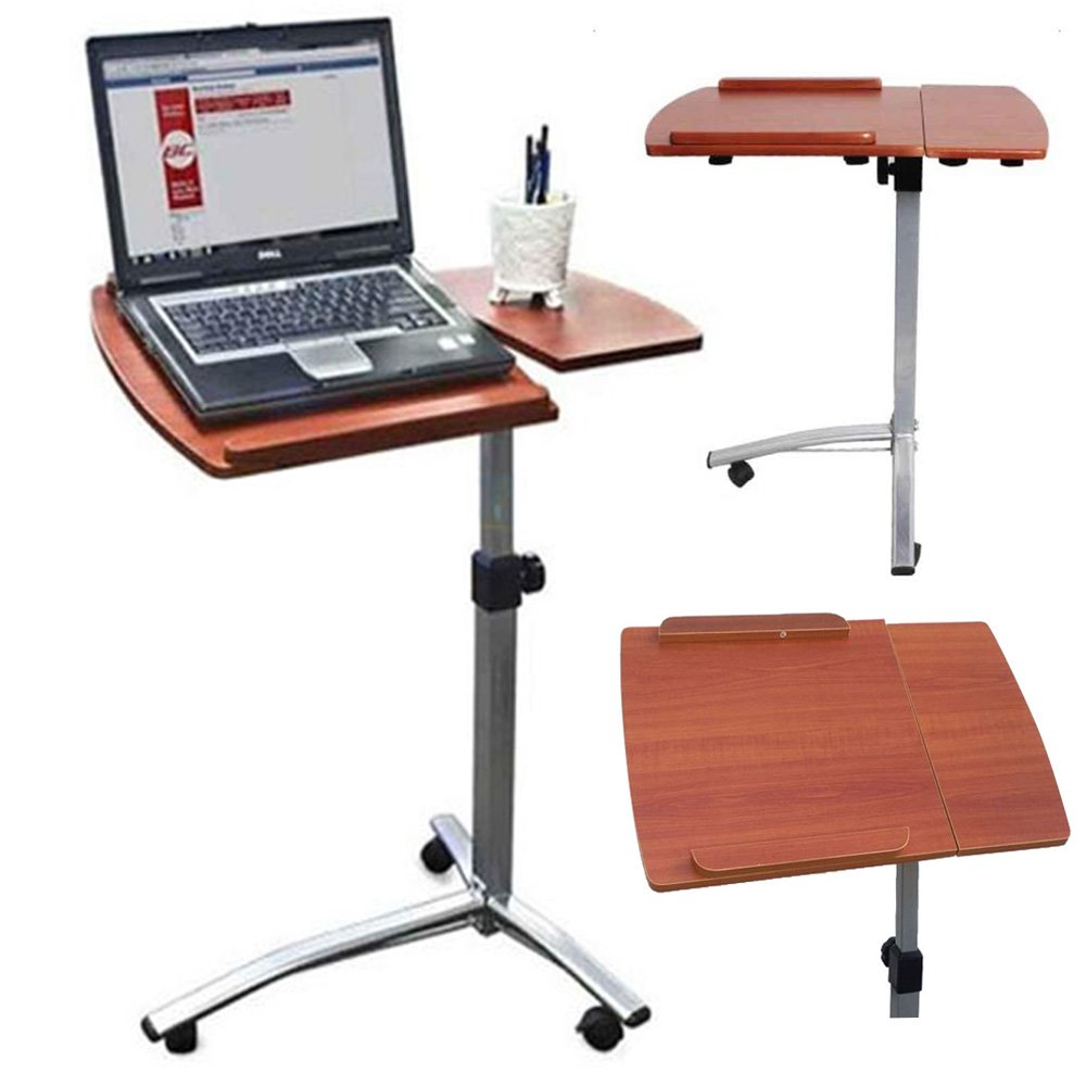 FCH Rolling Laptop Desk Cart with Casters Angle Height Adjustable Laptop Notebook Side Table Stand,Brown