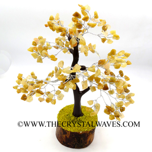 Yellow Aventurine 100 Chips Brown Bark Silver Wire Gemstone Tree With Wooden Base