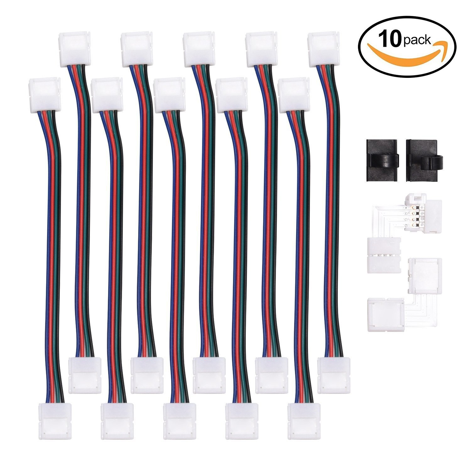 JACKYLED RGB 5050 3528 LED Light Strip Connector 4 Pins 10 mm Wide Strip to Strip Jumper 10-Pack Wire Solderless