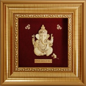 24k Gold Foil Art 3D Ganesha and Balaji Indian God for Souvenir