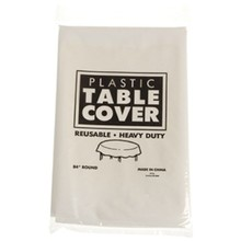ROUND PLASTIC TABLE COVER/WHITE #NP254