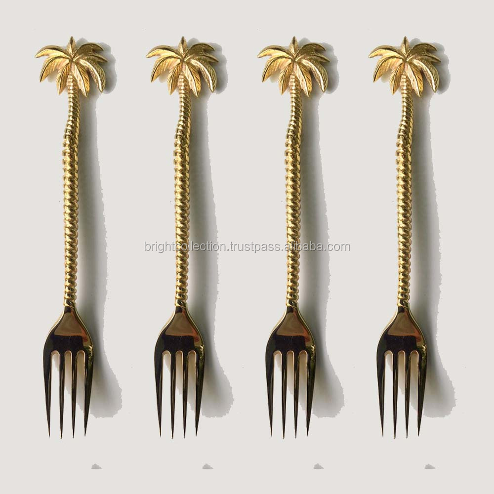 Brass Parm Tree Ribbed Handle Dinner Spoon Set