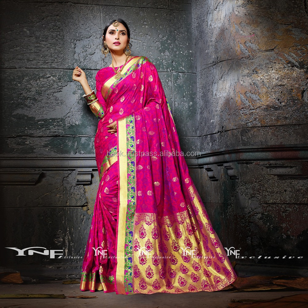 Indian Designer Bollywood saree for women Red & Violet Colour Cotton Silk Saree