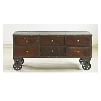 Industrial Rustic Iron Coffee Table With Drawers Vintage Iron