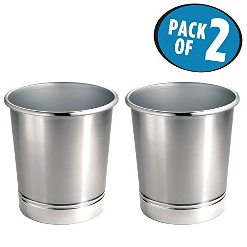 3df8883e4d6 Get Quotations · mDesign Round Metal Small Trash Can Wastebasket