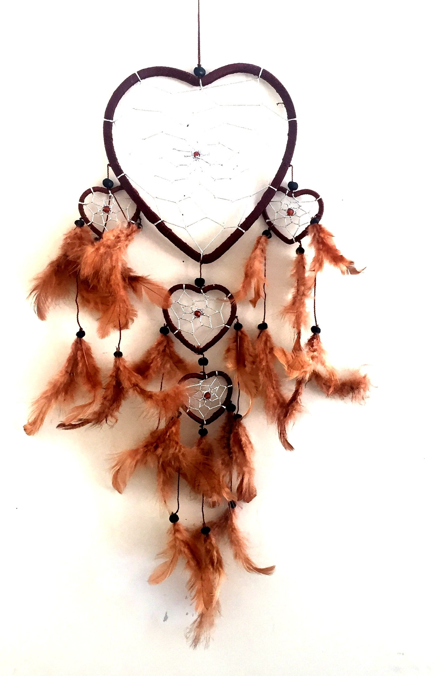 "OMA Dream Catcher - Hand Made BROWN Feather Dream Catcher Heart Shaped With Crystal Beads - 7"" Diameter & 24"" Long - OMA FEDERAL (TM) BRAND"