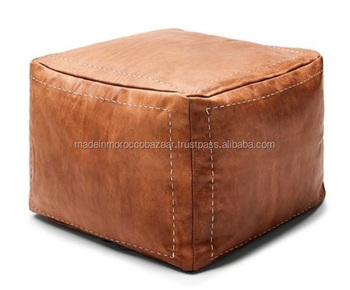 Amazing Best Quality Handmade Genuine Leather Cube Footstool Pouf Buy Brown Leather Pouf Moroccan Leather Pouf Ottoman Footstool Leather Ottoman Pouf Creativecarmelina Interior Chair Design Creativecarmelinacom