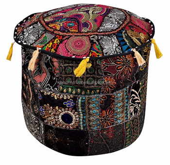 Wondrous Black Round Floor Seat Cover Ottoman Pouf Stool Ethnic Indian Embroidery Ottomans Buy Ottoman Round Indian Patchwork Ottoman Indian Ottoman Product Machost Co Dining Chair Design Ideas Machostcouk