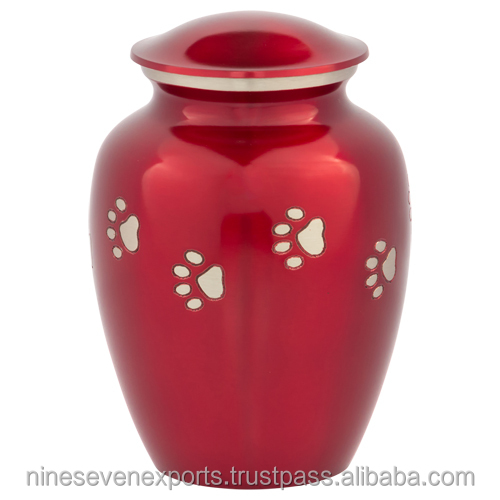 Red with Silver Paw Prints Pet Urn