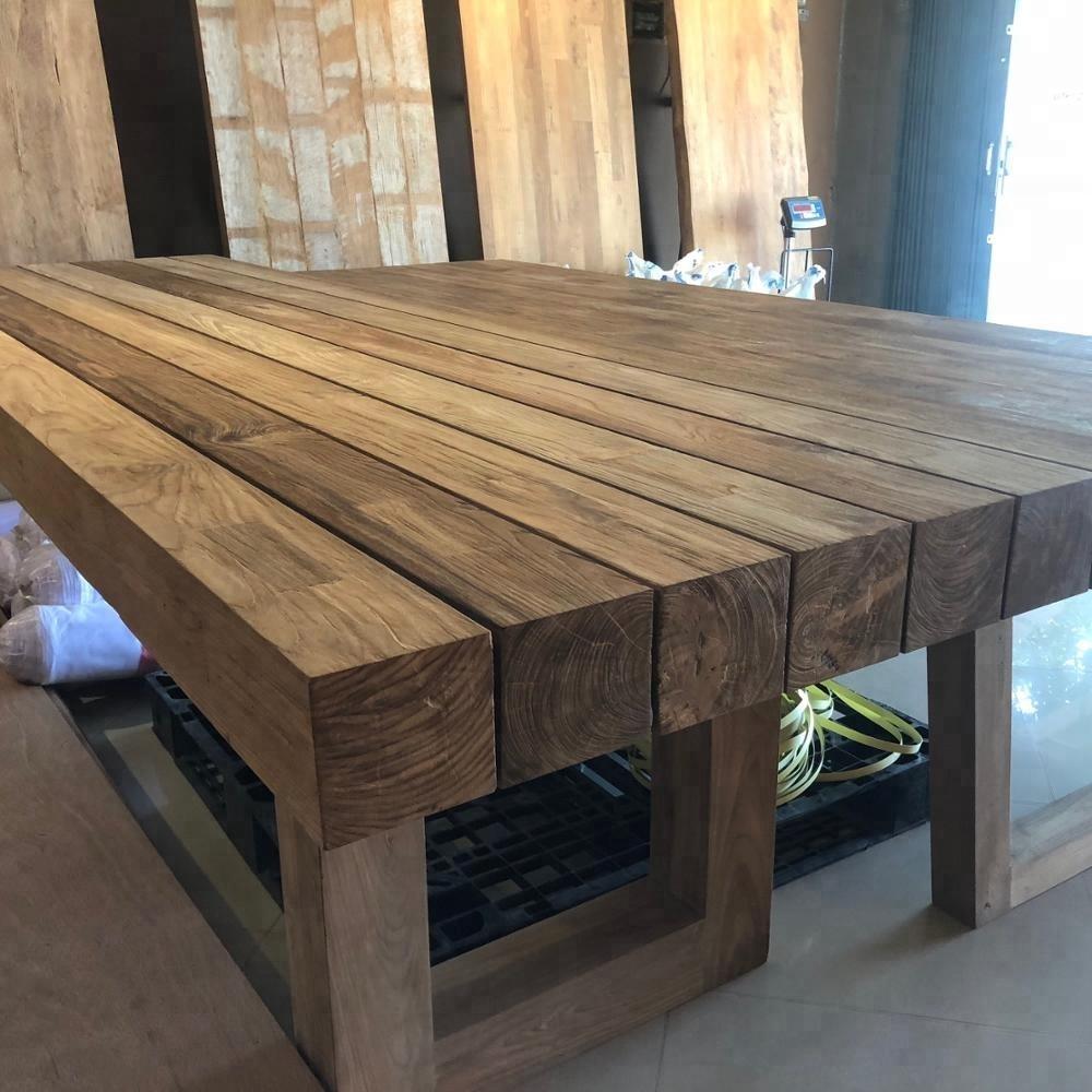 Wooden Beam Model Reclaimed Teak Restaurant Dining Table View