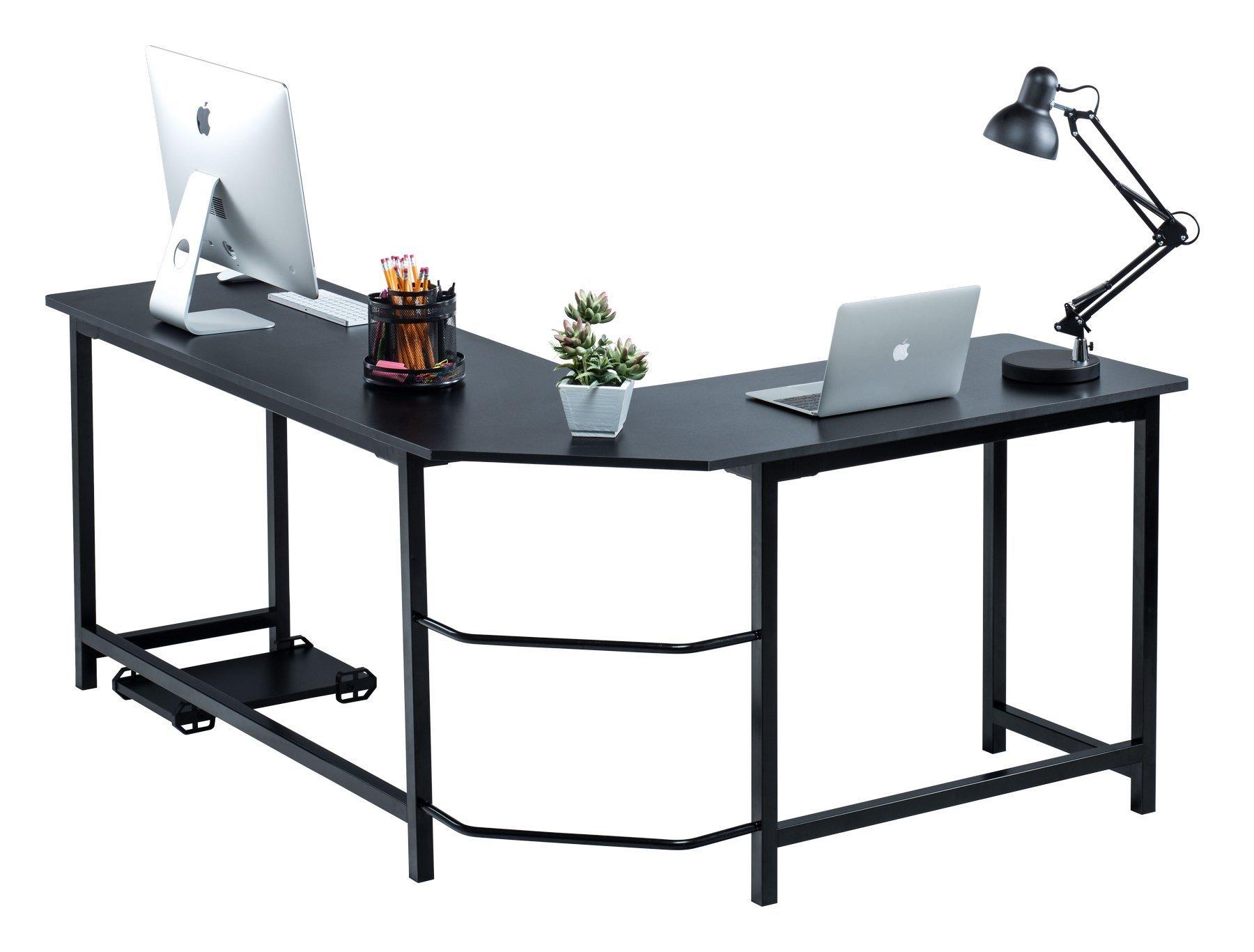Fineboard Stylish L-Shaped Office Computer Corner Desk Elegant & Modern Design, Black